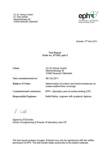 eph esd test report certification